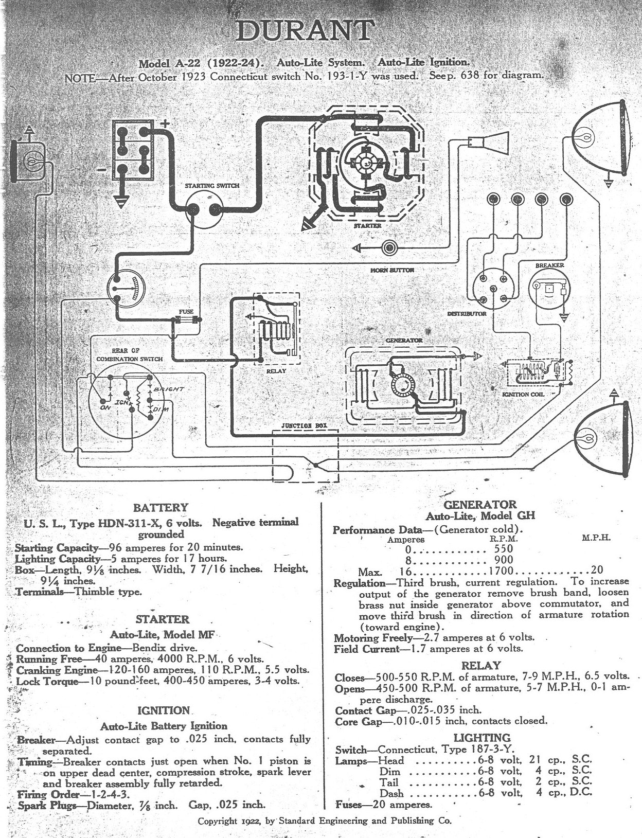 Durant Wiring Diagram Diagrams Electrical Junction Box Residential 1922 1929 Rh Dmacweb Com Basic